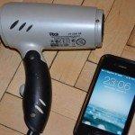 iPhone with Blowdryer
